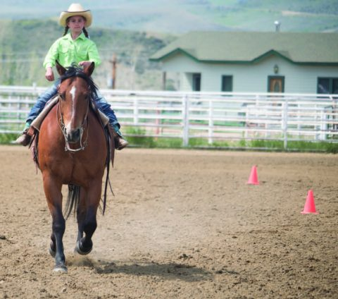 photo by Kim Cameron Teagan Bruchez of Kremmling finishes a pattern at the 4-H Expo held during June in Kremmling.
