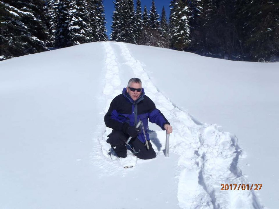 Helping People Help the Land An Equal Opportunity Provider and Employer Long time snow surveyor Mark Volt with the NRCS measures near record snowpack near Elk Mountain. Snow courses are read at the end of each month between January and May.