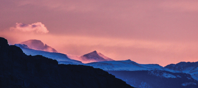 photo by Sally DiScuillo Long's Peak sunrise panorama from Hot Sulphur Springs.