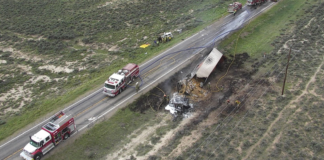 An aerial view of the semi crash from May 30. First responders were able to contain the blaze from the collision before it spread.