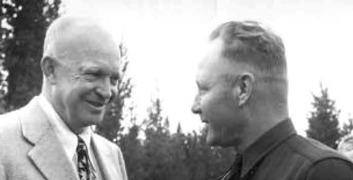 photo courtesy Grand County Historical Association | Law officer Chance Chance Va Pelt (R) poses for a photo with then-president Dwight Eisenhower.